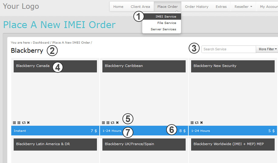 place order imei